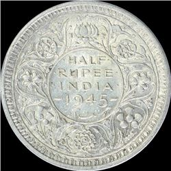 Silver Half Rupee Coin of King George VI of 1945.
