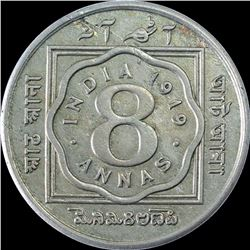 Cupro Nickel Eight Annas Coin of King George V of Calcutta Mint of 1919.