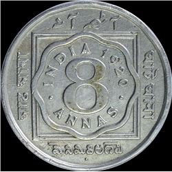 Cupro Nickel Eight Annas of King George V of Bombay Mint of 1920.