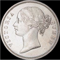 Silver One Rupee Coin of Victoria Queen of Calcutta Mint of 1840.