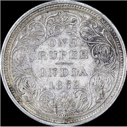 Silver One Rupee Coin of Victoria Queen of 1862.