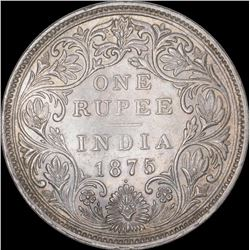 Silver One Rupee Coin of Victoria Queen of Bombay mint of 1875.