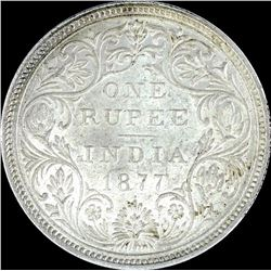 Silver One Rupee Coin of Victoria Empress of 1877.