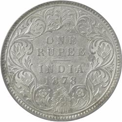 Silver One Rupee Coin of Victoria Empress of Calcutta Mint of 1878.