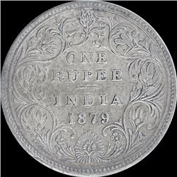 Silver One Rupee Coin of Victoria Empress of 1879.