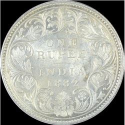 Silver One Rupee Coin of Victoria Empress of 1882.