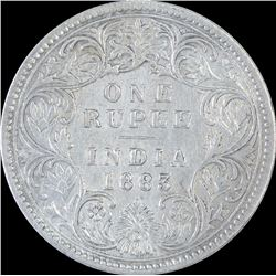 Silver One Rupee Coin of Victoria Empress of 1883.