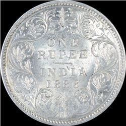 Silver One Rupee Coin of Victoria Empress of 1886.
