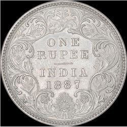 Silver One Rupee Coin of Victoria Empress of Bombay Mint of 1887.
