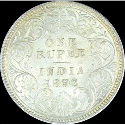 Silver One Rupee Coin of Victoria Empress of Calcutta Mint of 1892.