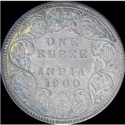 Silver One Rupee Coin of Victoria Empress of Bombay mint of 1900.