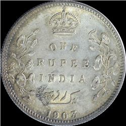 Silver One Rupee Coin of King Edward VII of Calcutta Mint of 1903.