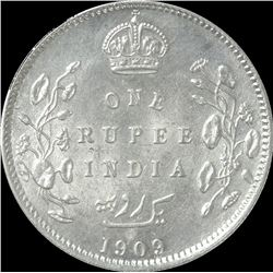 Silver One Rupee Coin of King Edward VII of Calcutta Mint of 1909.