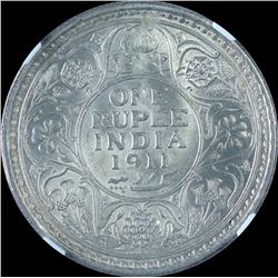 Silver One Rupee Coin of King George V of Calcutta Mint of 1911.