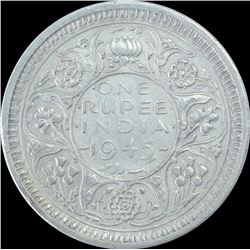 Silver One Rupee Coin of King George VI of 1945.