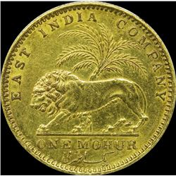 Gold One Mohur Coin of Victoria Queen of Calcutta Mint of 1841.