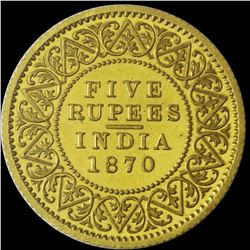 Gold Five Rupees Coin of Victoria Queen of 1870.