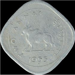 Rare Cupro Nickel Two Annas Coin of Bombay Mint of Republic India.