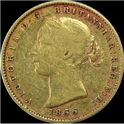Gold Half Sovereign Coin of Queen Victoria of Sydney Mint of Australia.