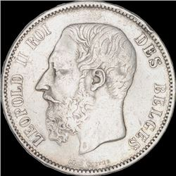 Silver Five Francs Coin of Leopold II of Belgium.