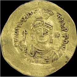 Gold Solidus Coin of Maurice Tiberius of Byzantine Empire.