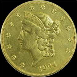 Gold Twenty Dollars Coin of United States of America.