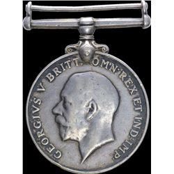 Silver British War Medal of George V of Great Britain.