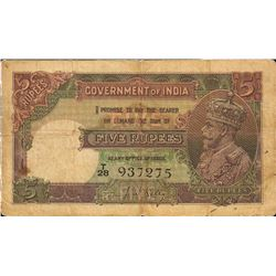 British India Five Rupees Note of British India Signed by J W Kelly.