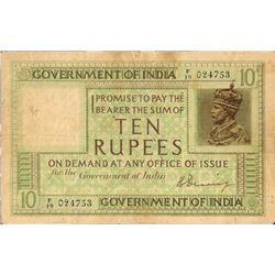 1925 British India Ten Rupees Note of King George V Signed by H Denning.