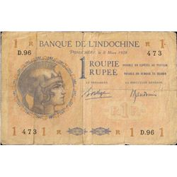 French India One Rupee Note of 1938.