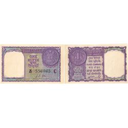 1957 Republic India One Rupee Note Signed by L K Jha.