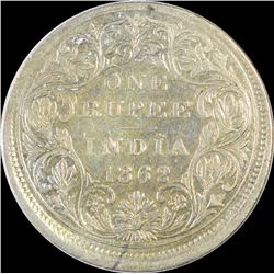 Error Silver One Rupee Coin of Victoria Queen of 1862.
