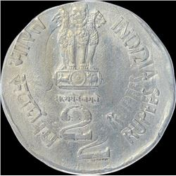 Error Cupro Nickel Two Rupees Coin of Subhas Chandra Bose Centenary of 1997.