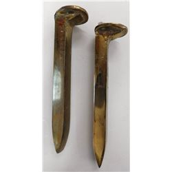 Pair of Polished Brass Railroad Spikes