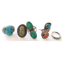 Collection of Five Navajo Rings