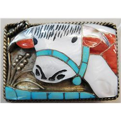 Old Zuni Belt Buckle signed H. L. Zunie