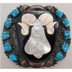 Navajo Turquoise & Sterling Silver Ram's Head Buckle