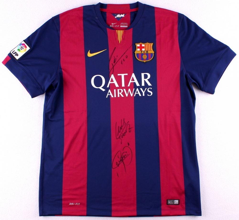 best loved 04f18 c1fe6 Lionel Messi, Neymar Jr. & Luis Suarez Signed FC ...