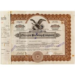 Olympia Brewing Company Stock Certificate