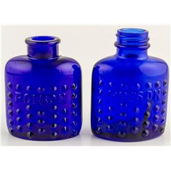Two Cobalt Oval Poison bottles