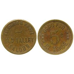 Old Valley Whiskey Saloon Trade Token