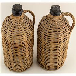 Two Whiskey Bottles in Wicker