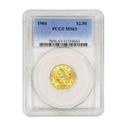 1904$2.50LibertyGOLDQuarterEaglePCGSMS63