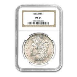 1885-O$1MorganSilverDollar-NGCMS64