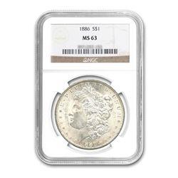 1886$1MorganSilverDollarNGCMS63