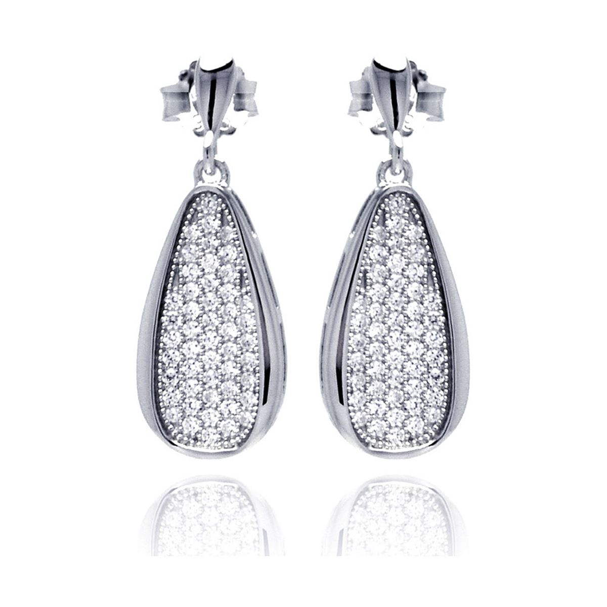 9f2b0a421 Loading zoom · Image 1 : Sterling Silver Rhodium Plated Micro Pave Clear  Teardrop CZ Dangling Stud Earring ace00057