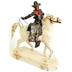1940's metal statue of cowboy on horse