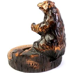 Copper clad bear ashtray marked Lareis
