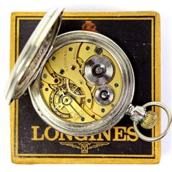 Longines open face pocket watch