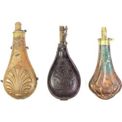 Collection of 3 antique powder flasks